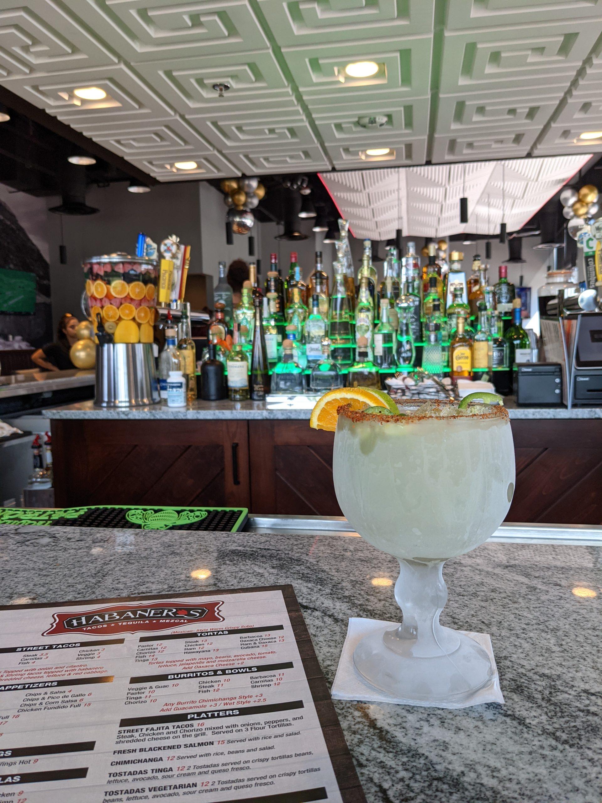 bar top with margarita glass